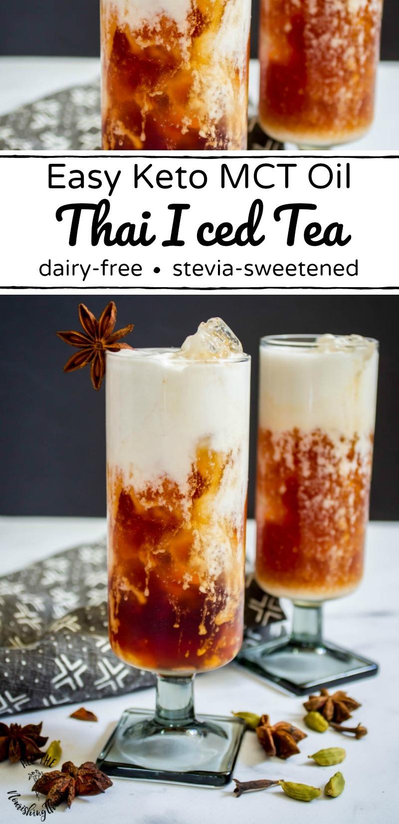 mct oil keto thai iced tea with text overlay