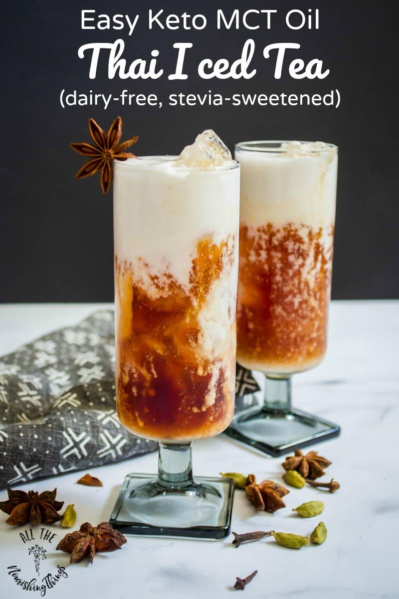keto mct oil thai iced tea with text overlay