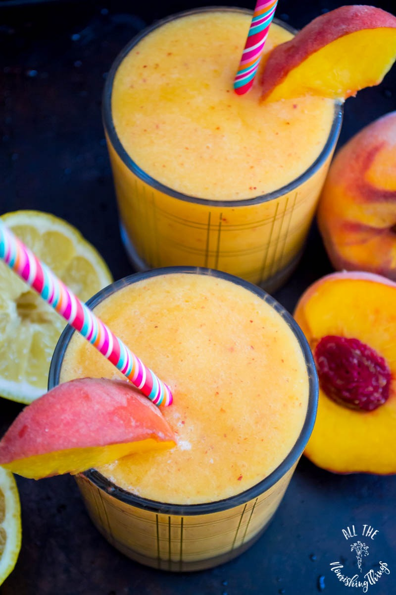 3-ingredient real food low-carb peach slushie with colorful straw