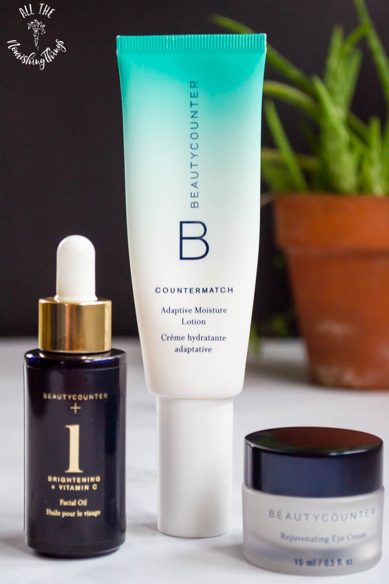 beautycounter brightening oil and adaptive moisture lotion and eye cream