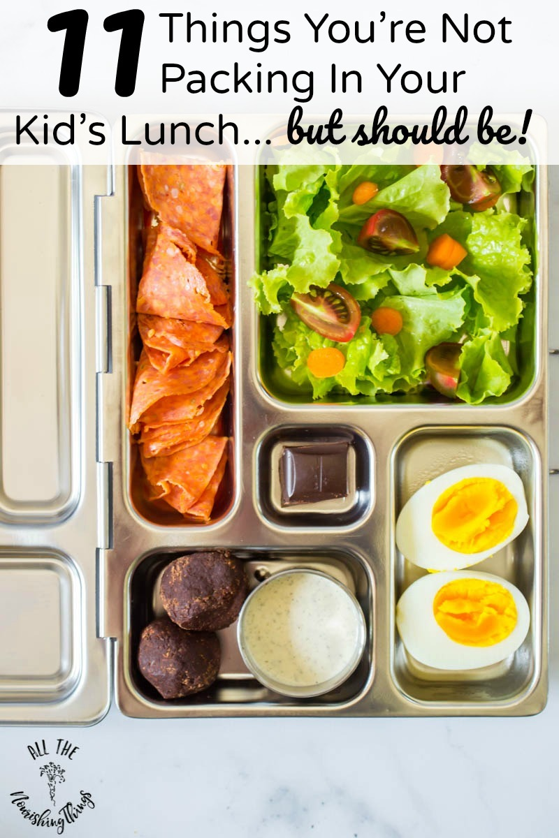 bento box healthy school lunch with text overlay