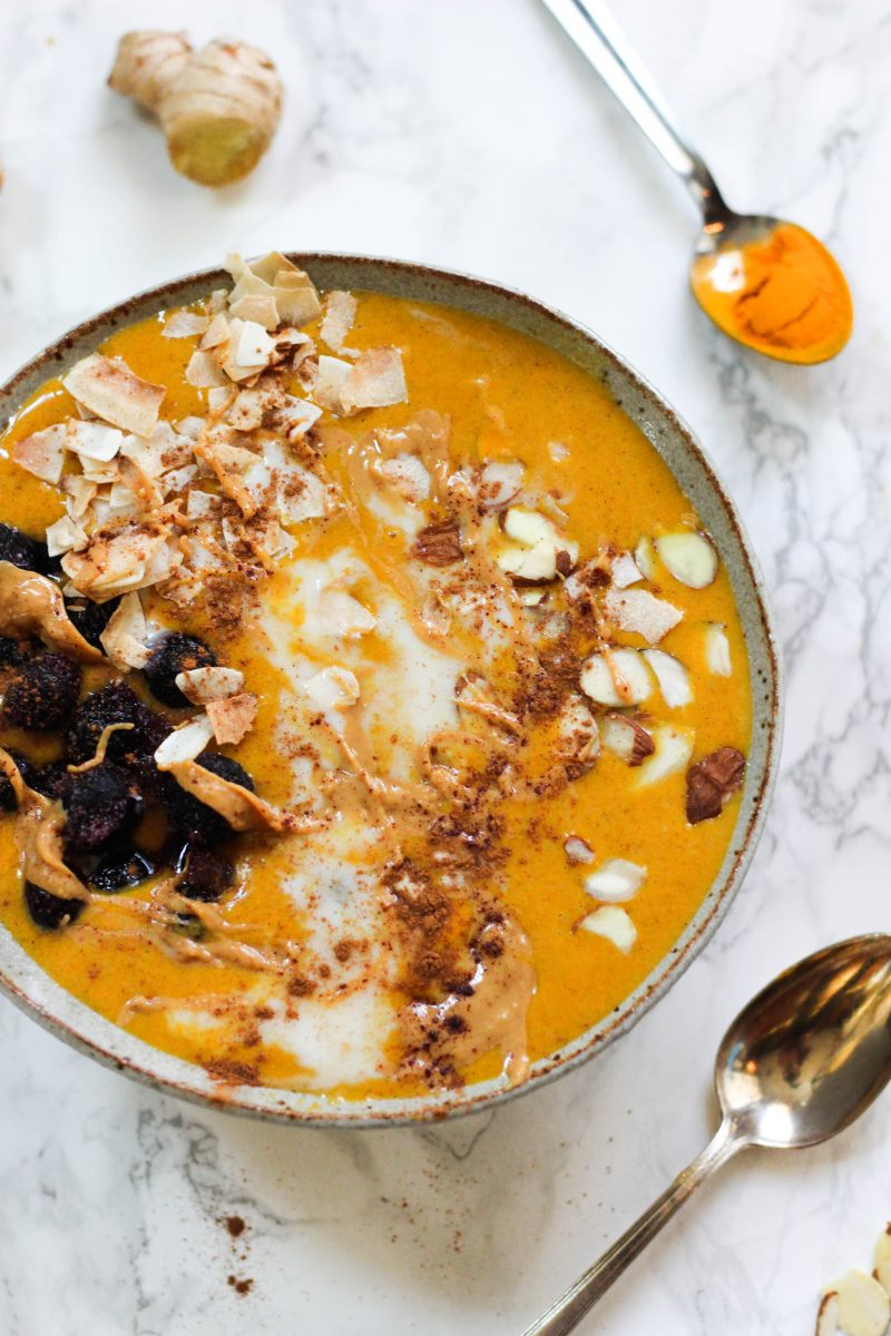 no-cook breakfast turmeric ginger bone broth smoothie bowl