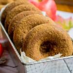 horizontal image of soaked gluten-free apple cider donuts in metal baking tin