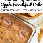 apple breakfast cake in glass pan and on green plate