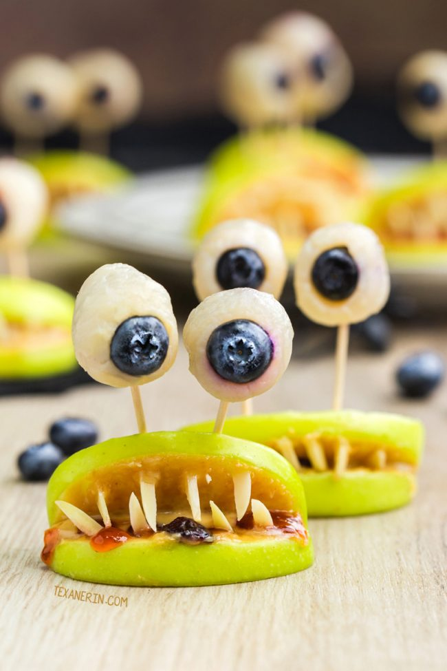 apple slices made to look like monsters