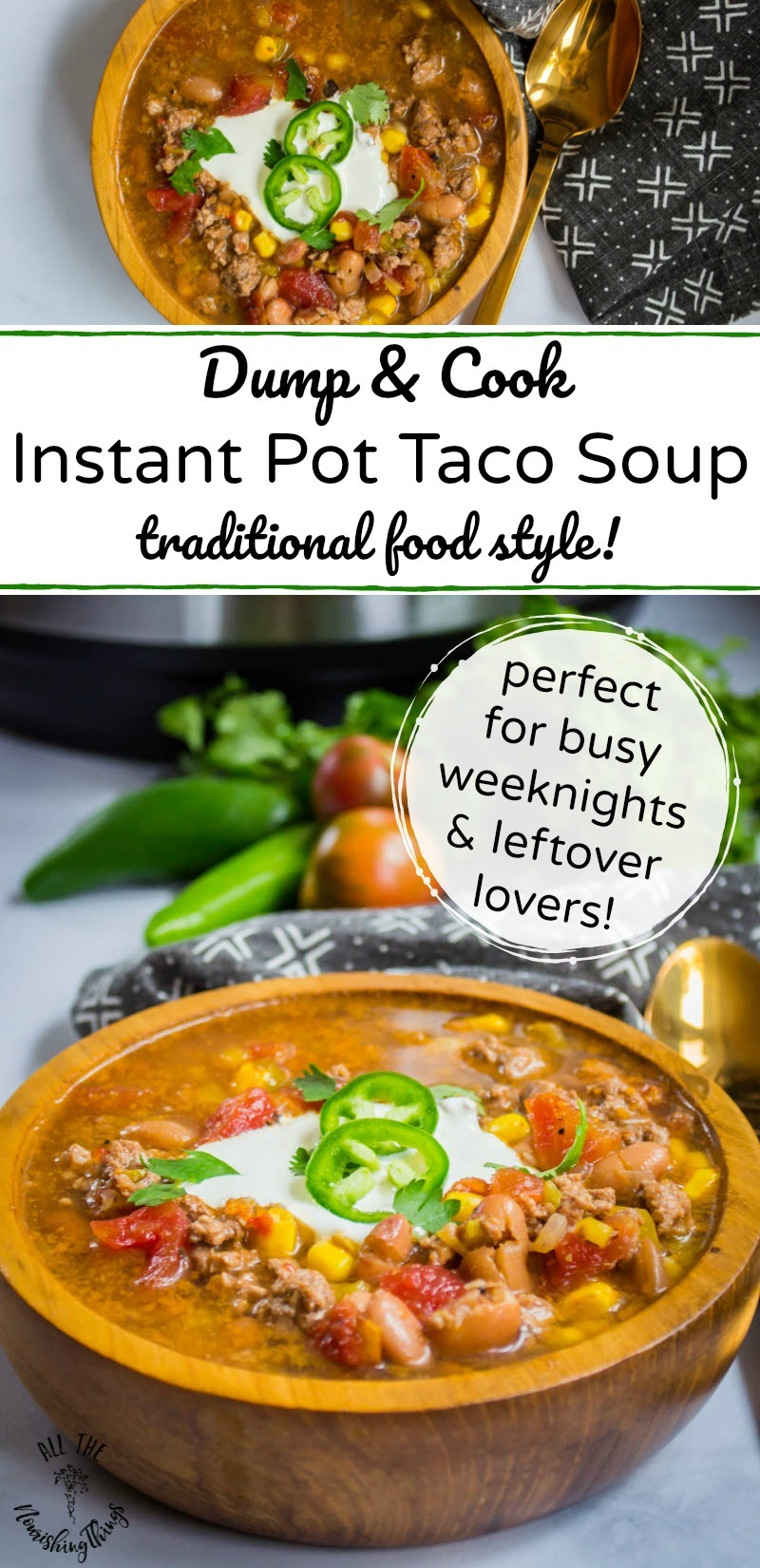 dump and cook instant pot taco soup with text overlay