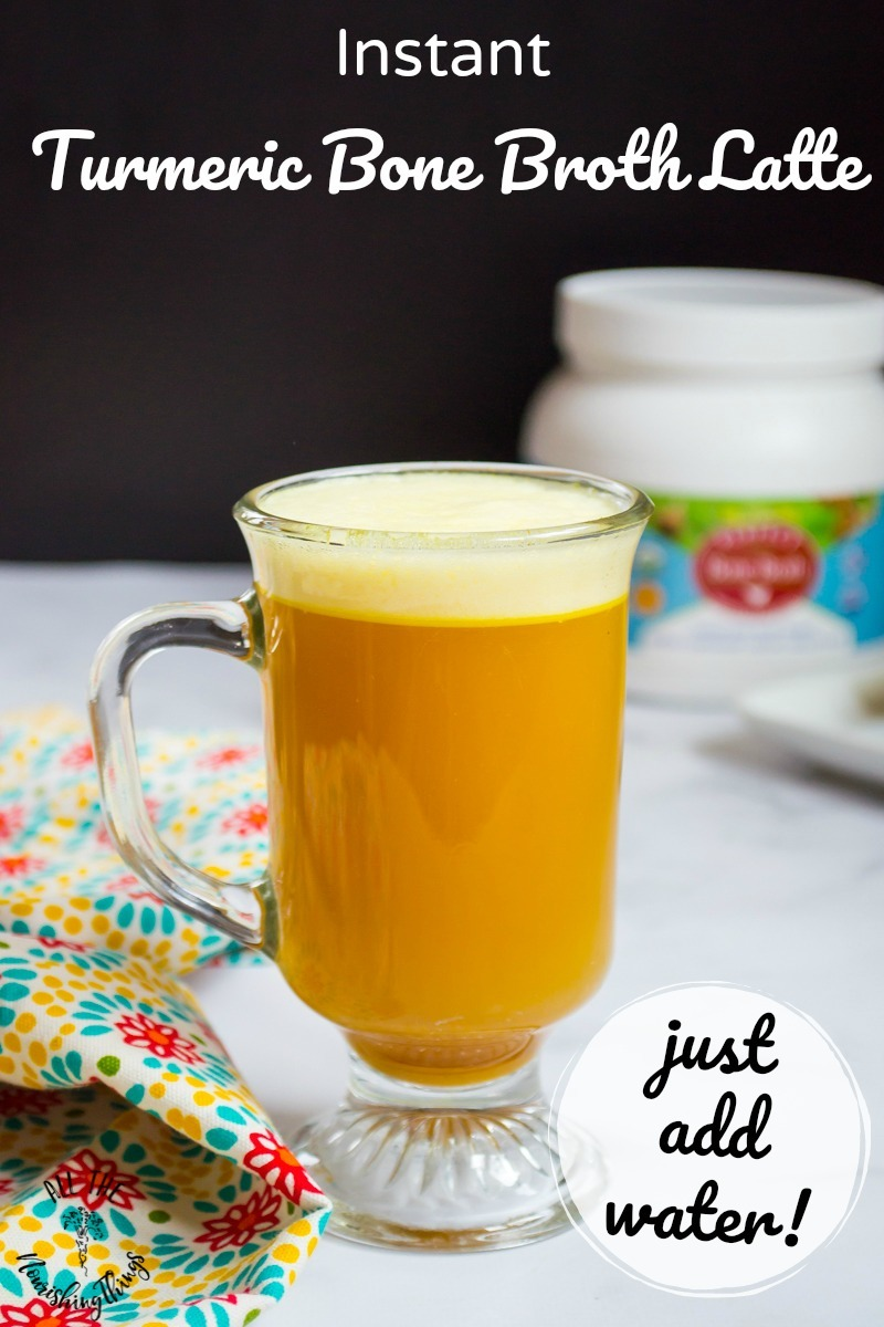 instant turmeric bone broth latte with text overlay