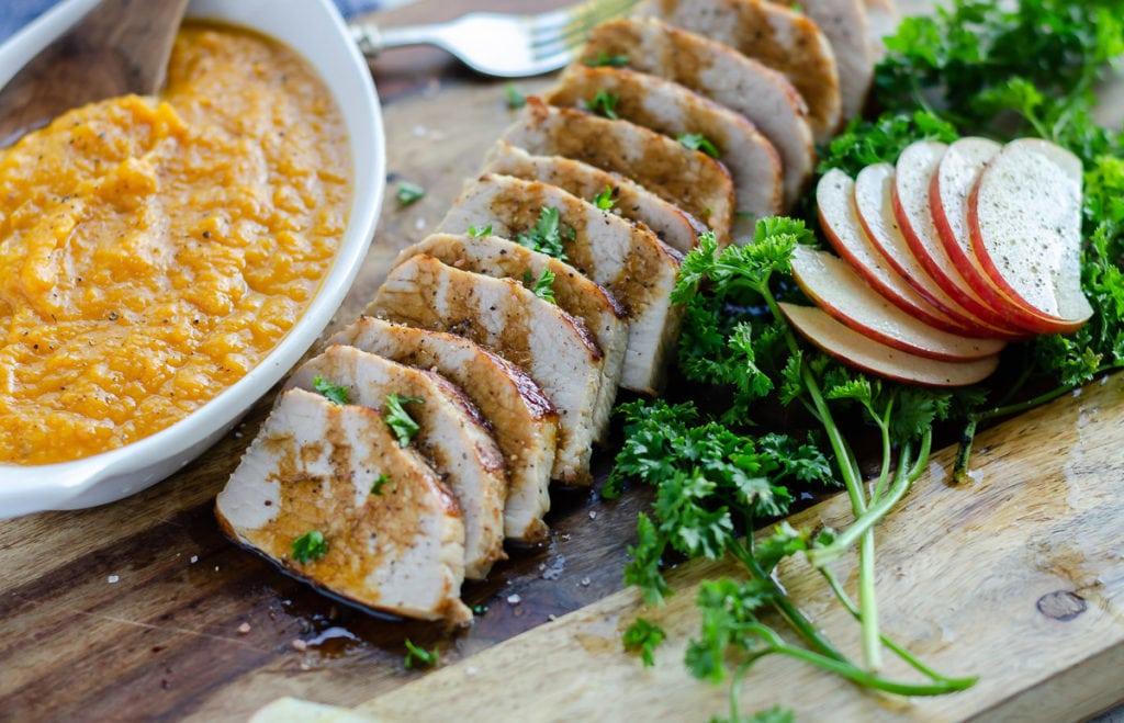 instant pot pork tenderloin with sweet potatoes and apples