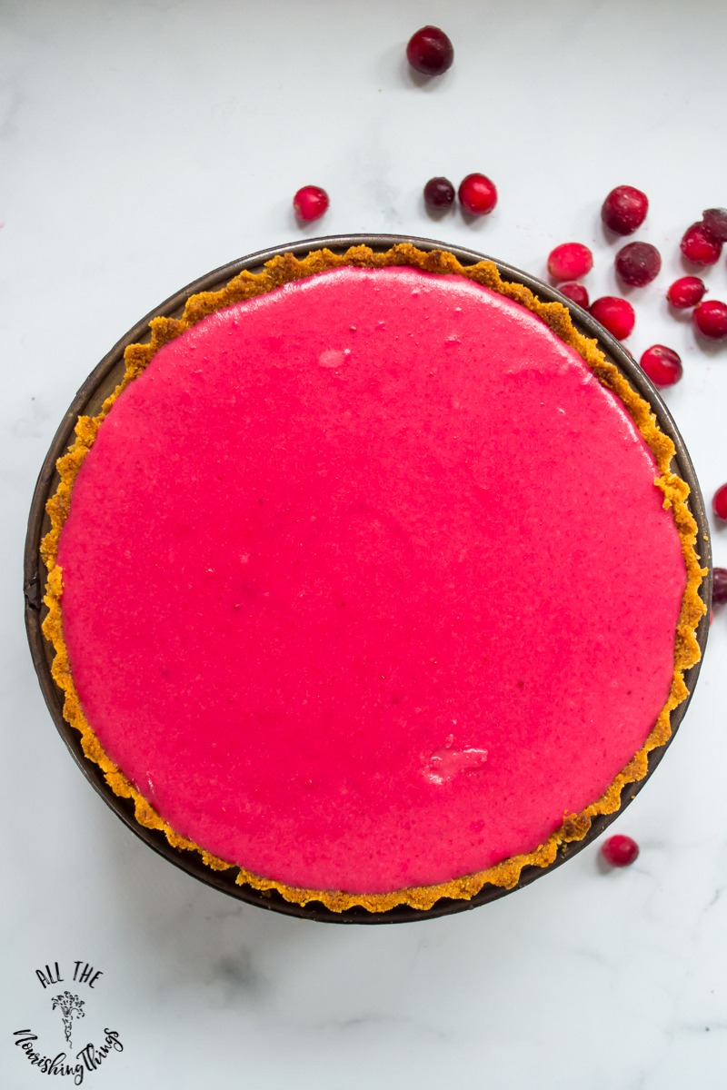 bright pink keto cranberry curd tart whole