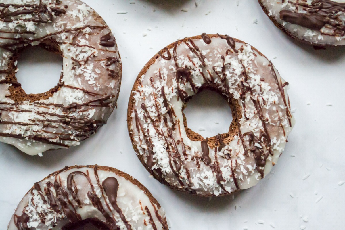 3 chocolate coconut donuts