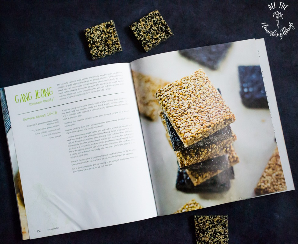 photo of open cookbook with recipe for paleo gang jeong