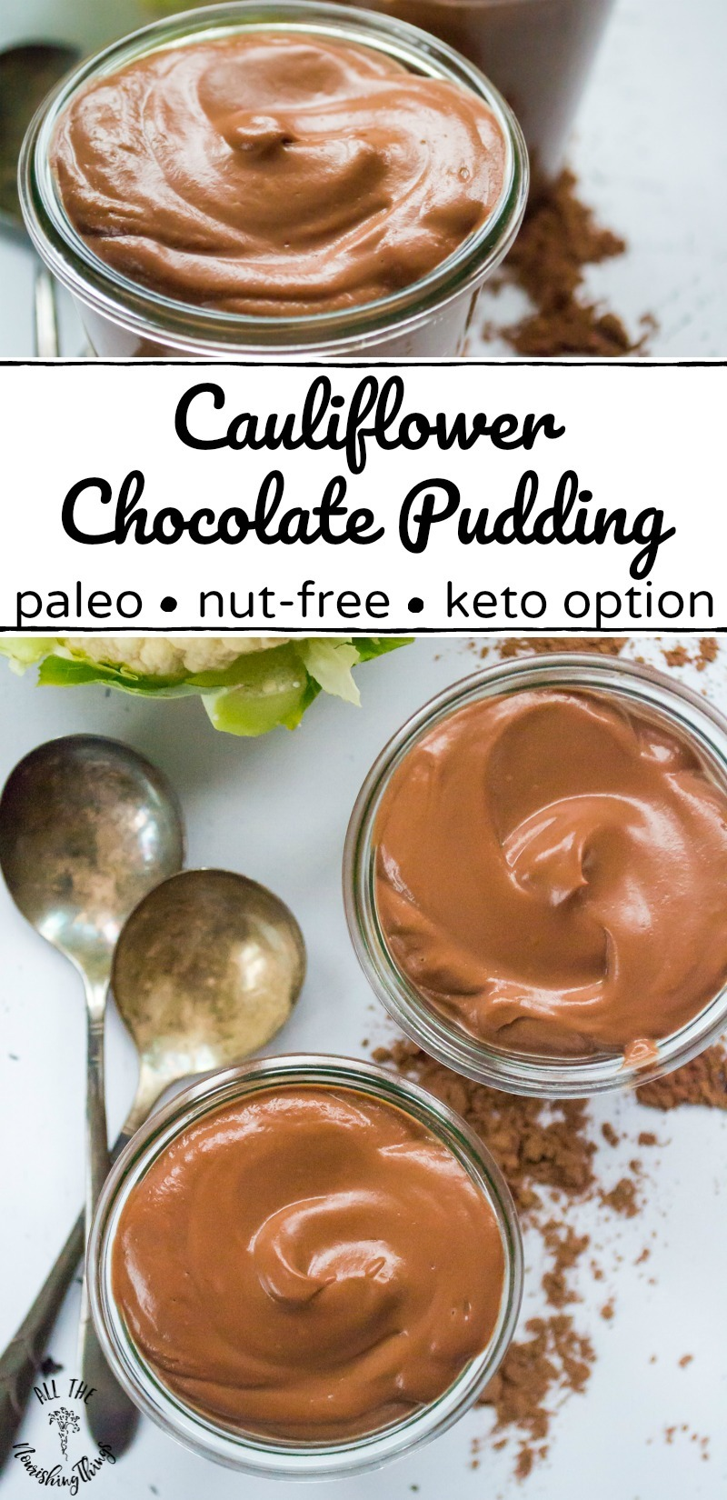 collage of two images of cauliflower chocolate pudding in glass jars with text overlay