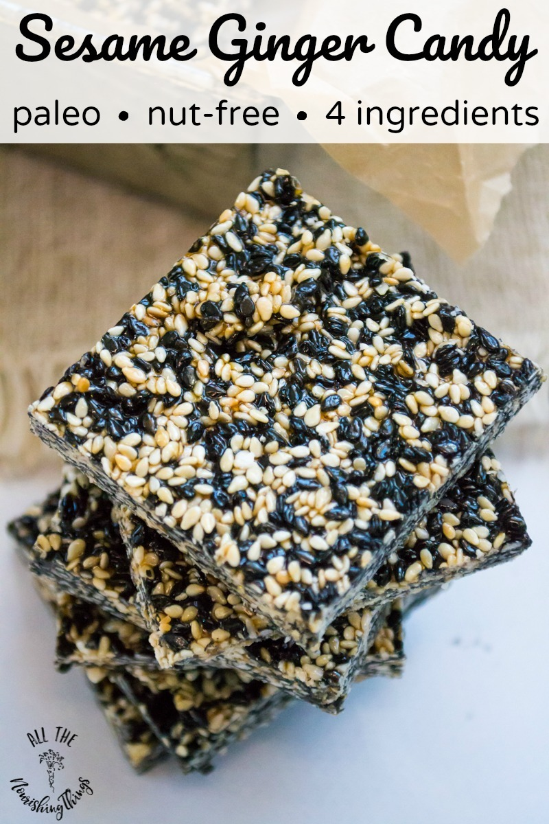 black and white sesame seed squares with text overlay