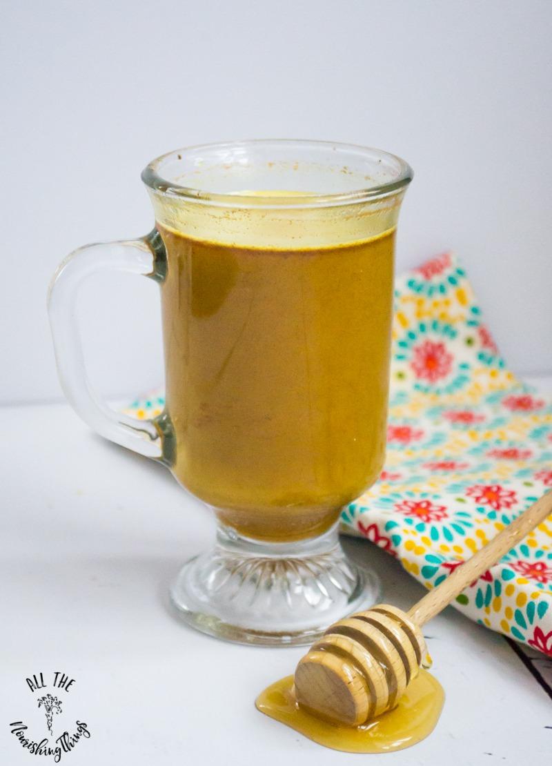 clear mug of instant paleo golden milk