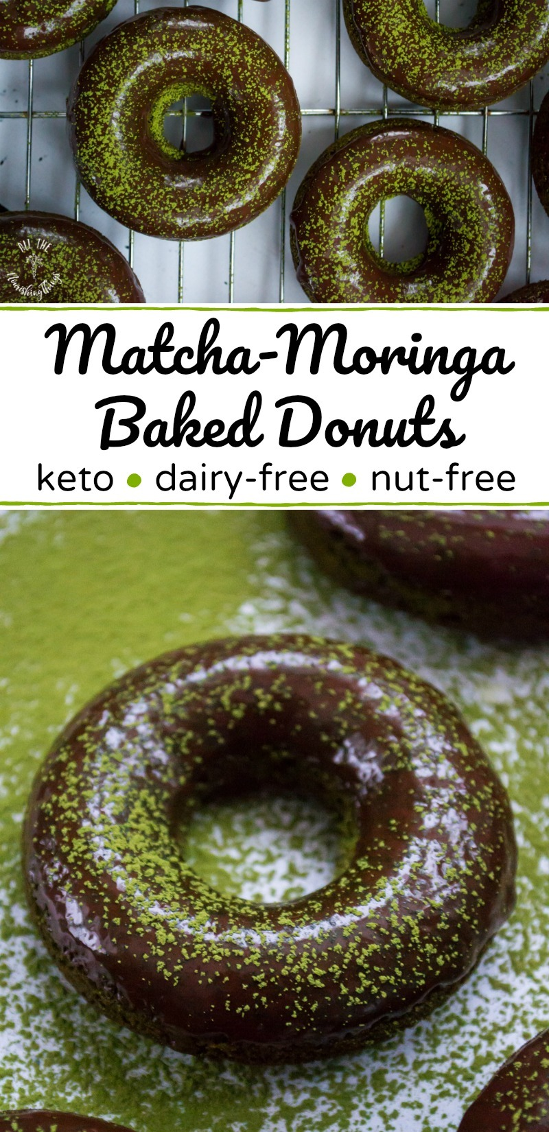 collage of keto matcha-moringa baked donuts with green powder and text overlay