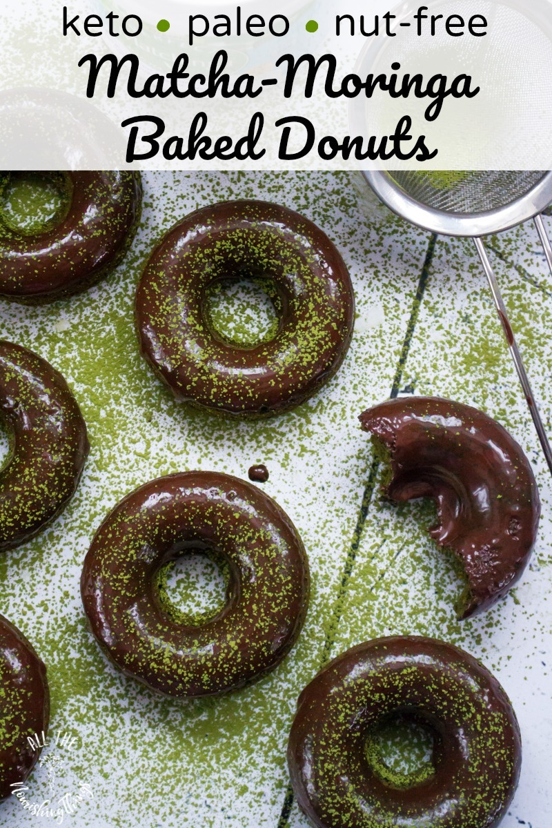 keto matcha-moringa baked donuts on white background with text overlay