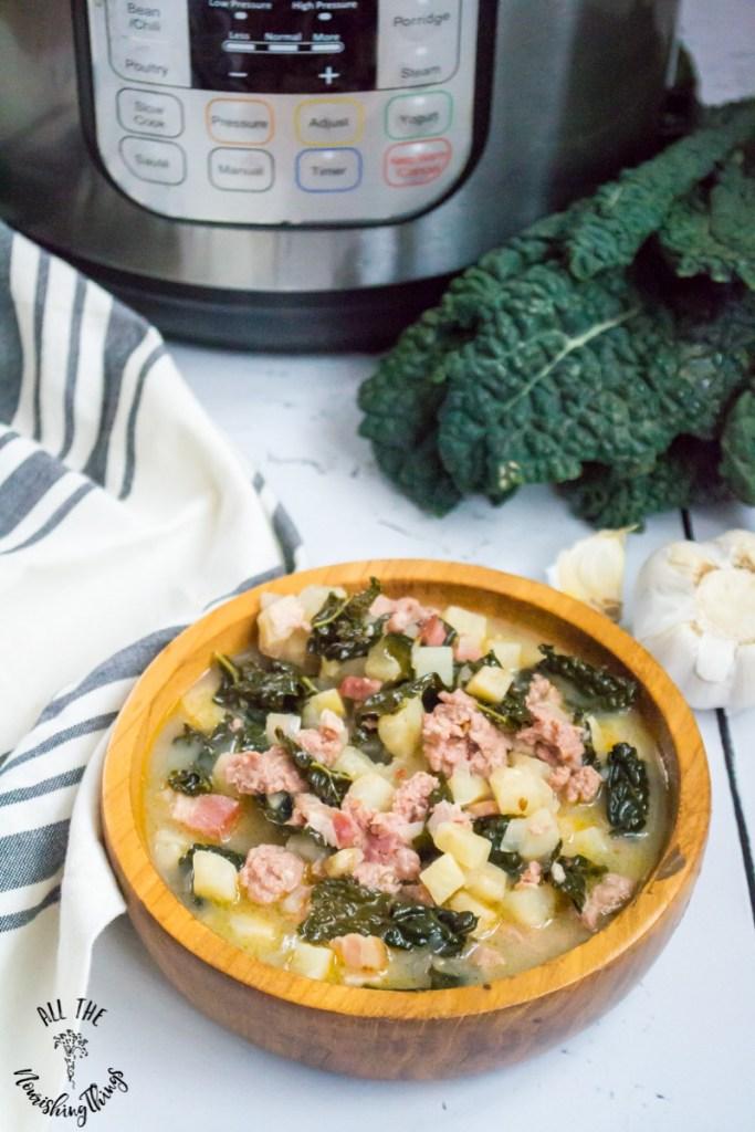 Instant Pot Keto Zuppa Toscana (dairy-free, potato-free, nut-free)