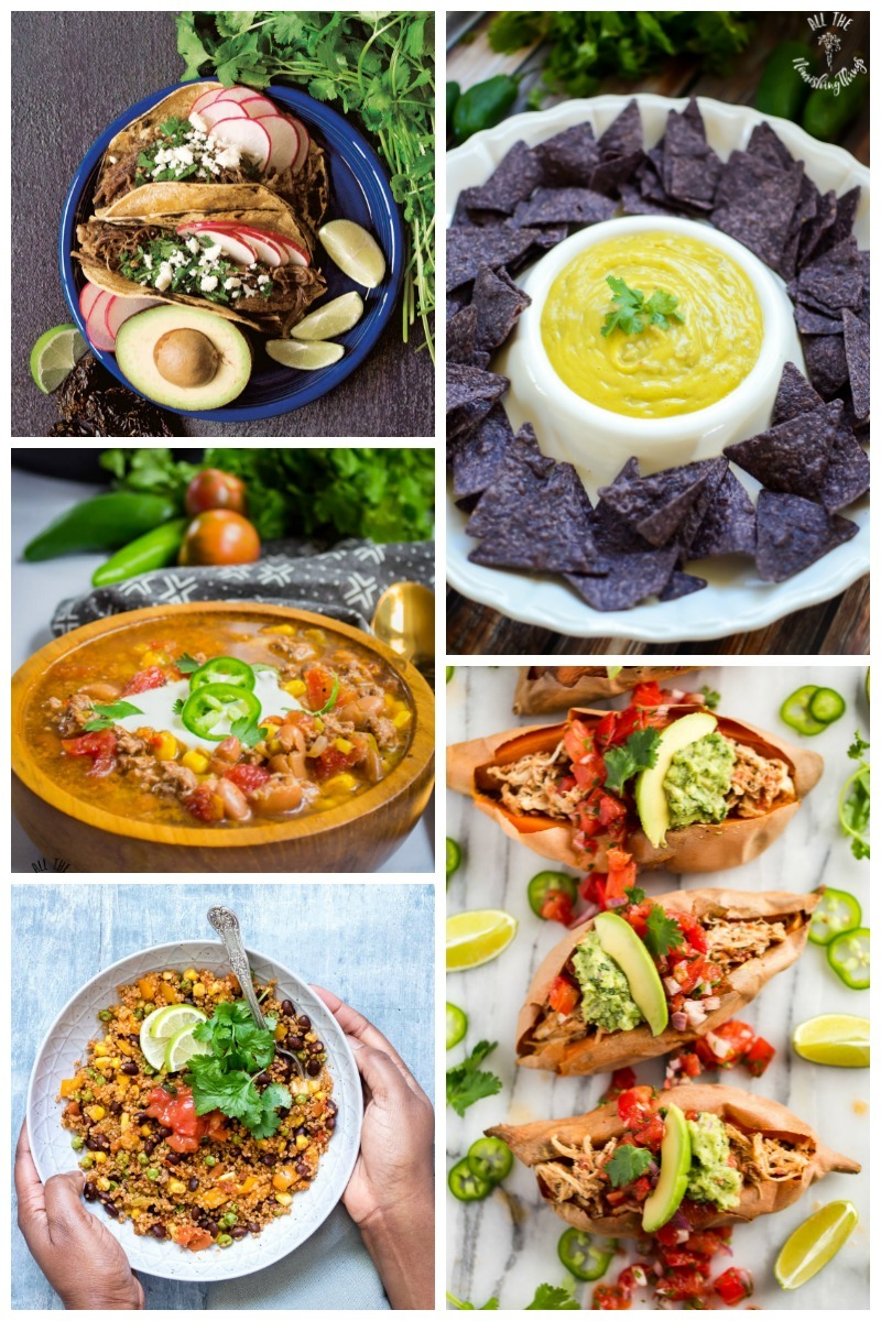 collage of 5 mexican instant pot recipes with colorful food