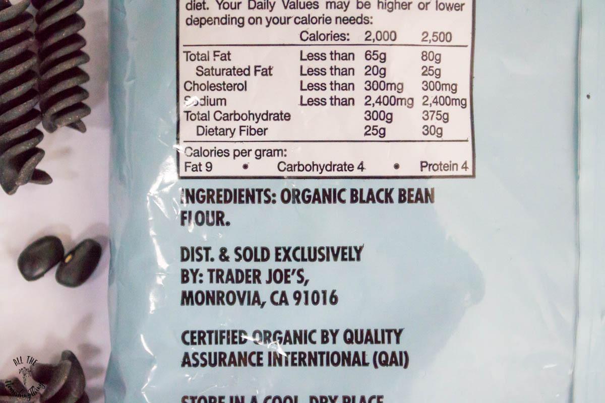 ingredients of trader joe's black bean rotini