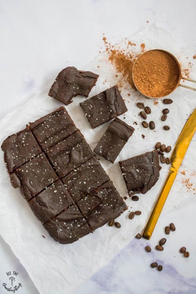 Grain-Free Salted Caramel Mocha Brownies (dairy-free, nut-free, blender batter!)