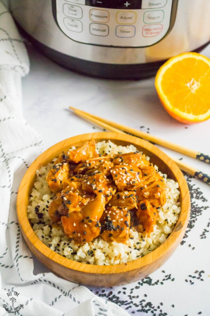 Keto Instant Pot Sesame Orange Chicken (paleo, Whole30, nut-free) — includes cooking from frozen chicken!