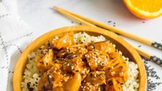 Keto Instant Pot Sesame Orange Chicken (paleo, Whole30, nut-free) — includes cooking from frozen chicken!