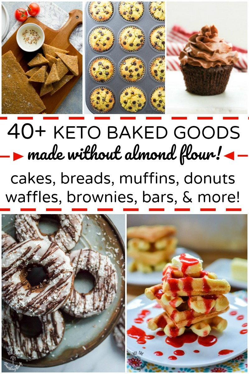 collage of keto baked goods made without almond flour with text overlay
