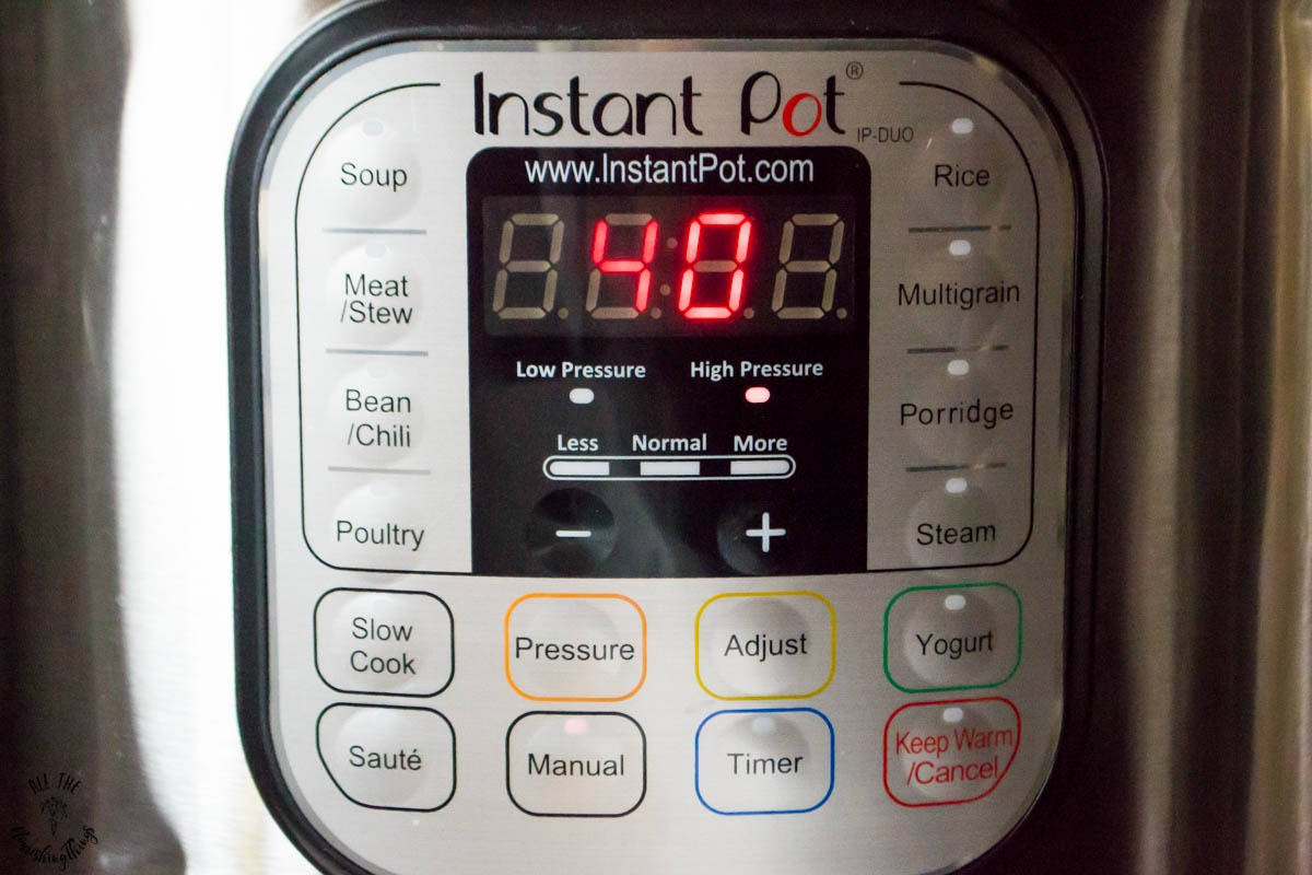 40 minutes on manual pressure on an instant pot