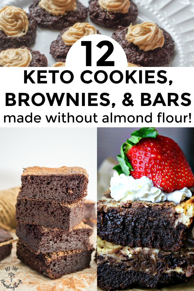 collage of 3 images of keto cookies, brownies, and bars made without almond flour