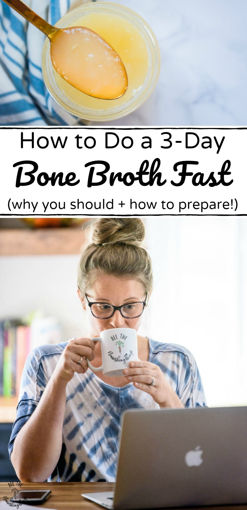 spoon of bone broth over an image of a woman doing a 3-day bone broth fast with text overlay
