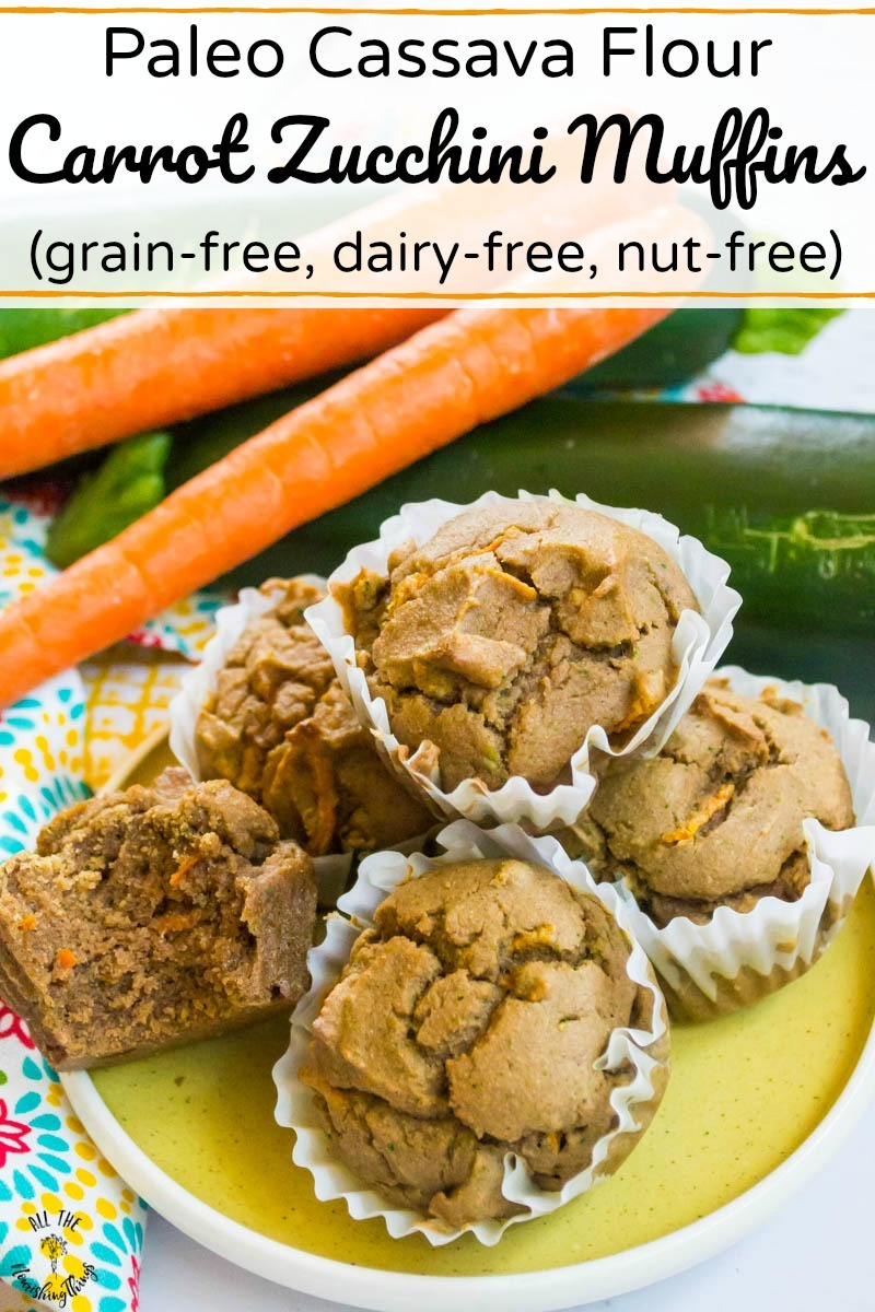 pin image of cassava flour carrot zucchini muffins with text overlay