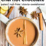 overhead view of keto instant pot chai hot chocolate with text overlay