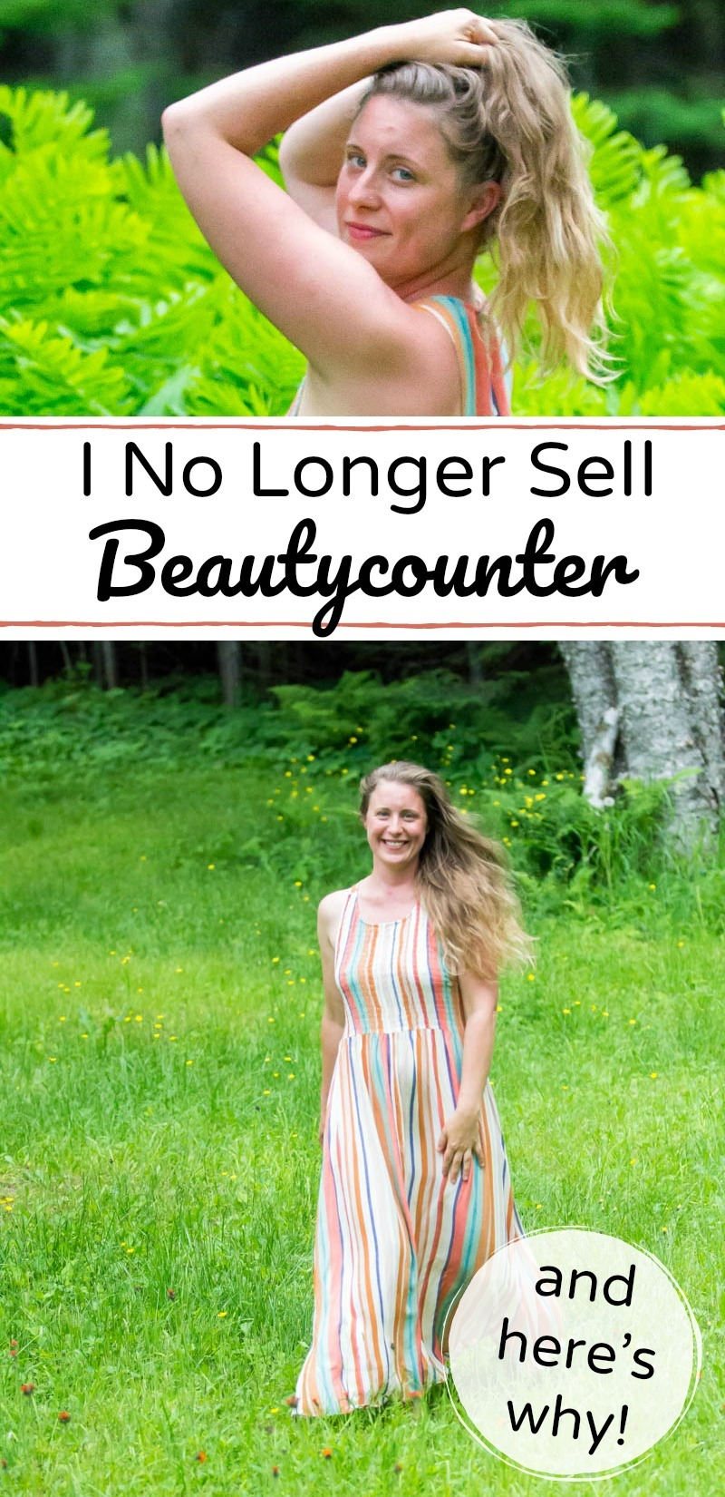 collage of images of a natural, happy woman outside with text overlay about beautycounter cosmetics and skincare