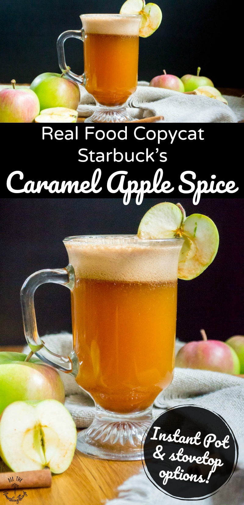 long pin image of real food copycat starbuck's caramel apple spice with text overlay