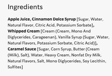 ingredient list of starbuck's caramel apple spice