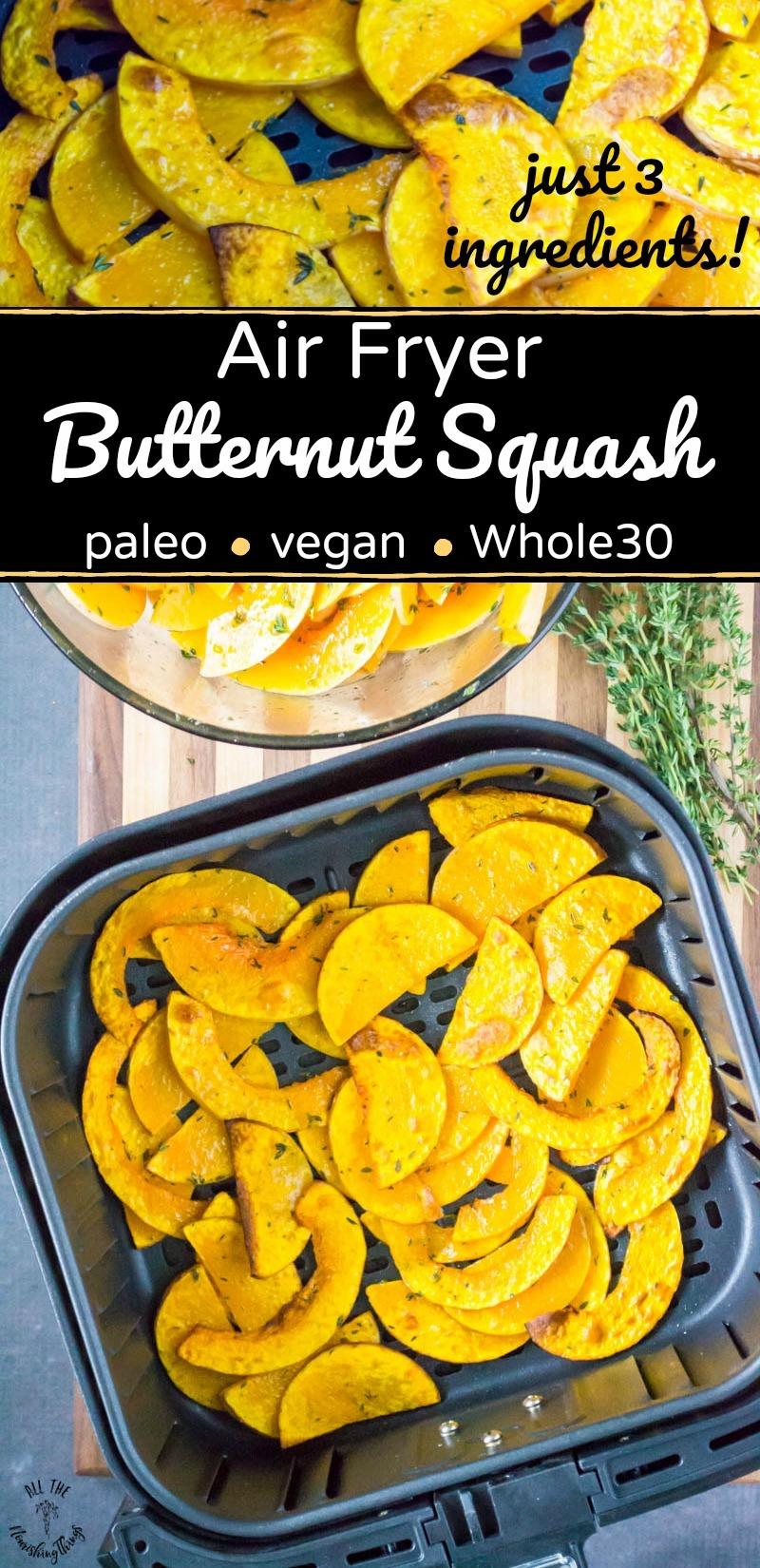 collage of 2 images of air fryer butternut squash with text overlay between the images