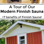 collage of 2 images of a modern Finnish sauna with text between the images