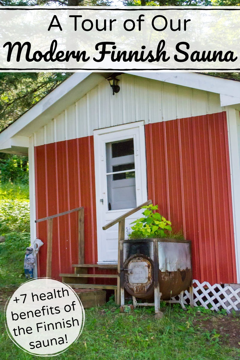 red-sided modern Finnish sauna in Minnesota