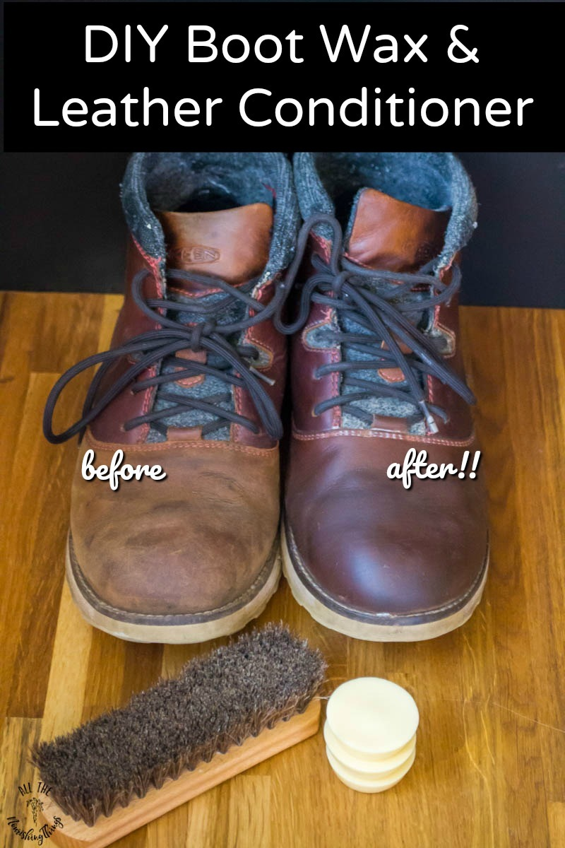 pair of leather boots before and after with diy boot wax and text overlay