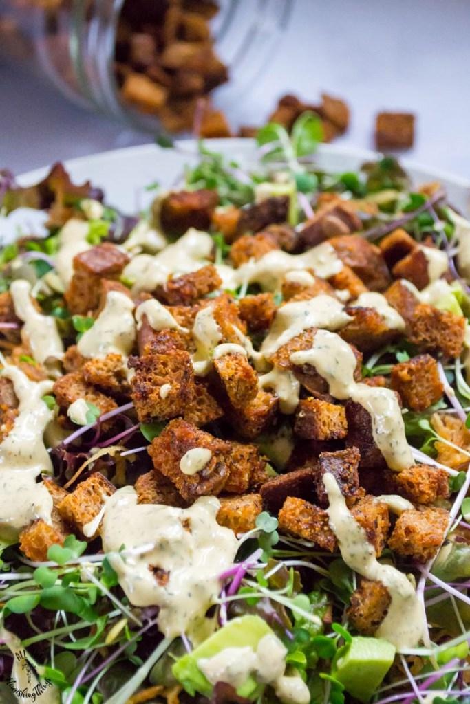 Gluten-Free Sourdough Croutons (vegan, nut-free, nourishing)