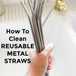 hand holding a group of reusable metal straws with text overlay