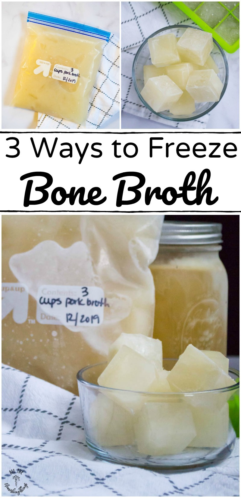 collage of images of frozen bone broth