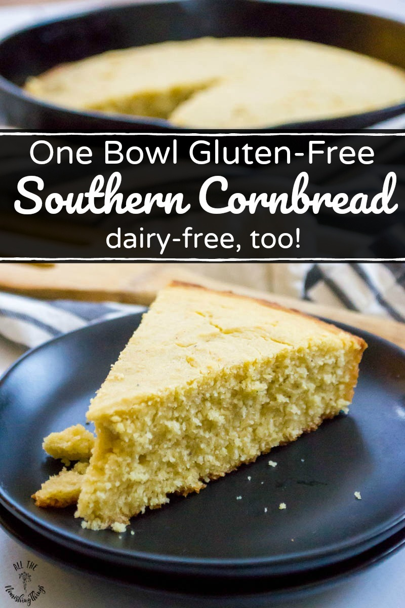 slice of dairy-free gluten-free southern cornbread on black plate with text overlay