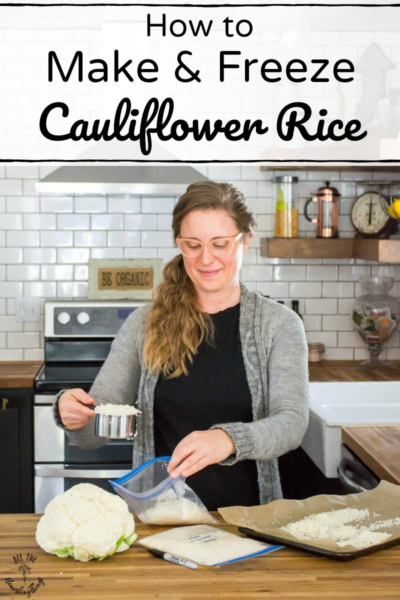woman putting cauliflower rice in zip-top bags to freeze