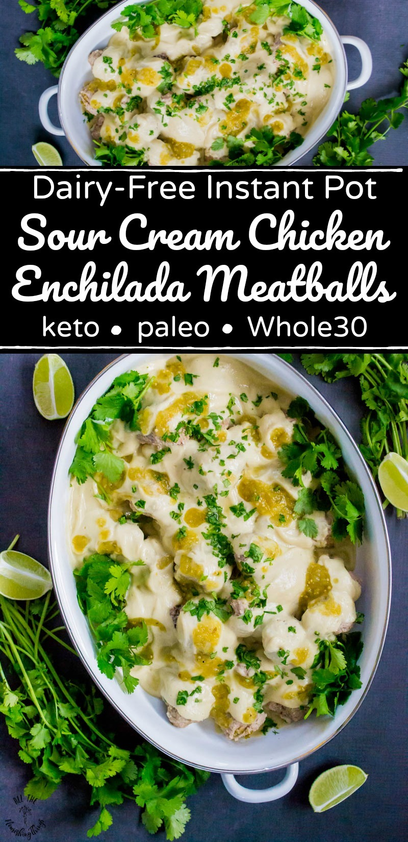 collage of 2 images of instant pot dairy-free sour cream chicken enchilada meatballs with text overlay between the images