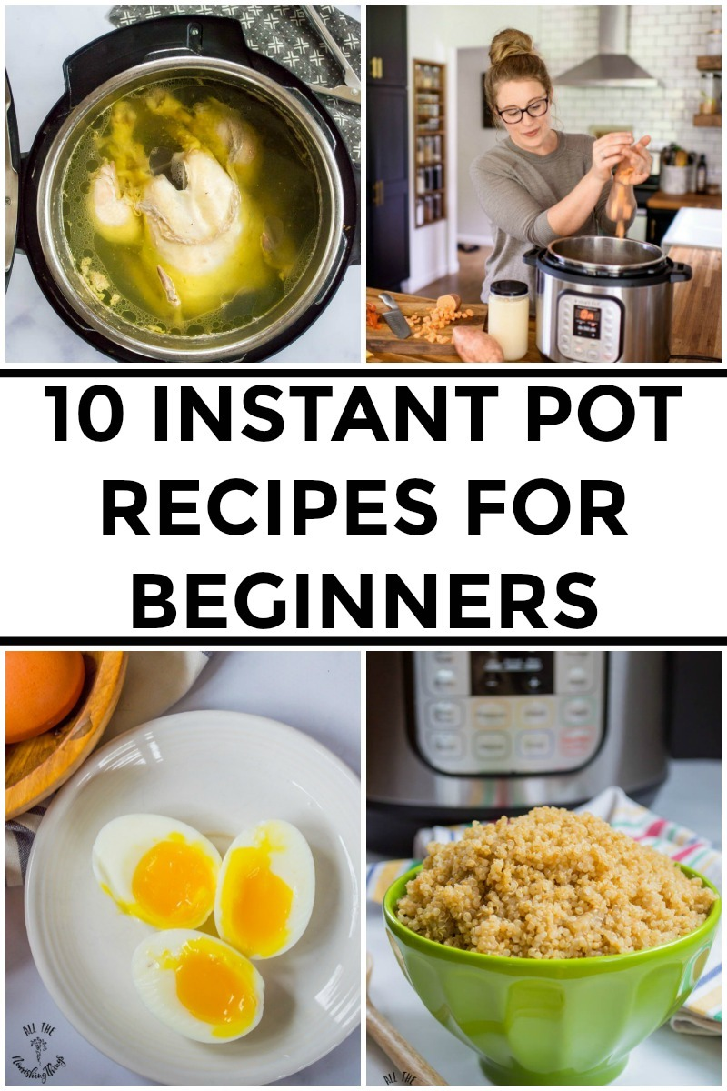 collage of images of instant pot recipes for beginners with text overlay