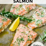 sheet pan salmon on baking sheet with text overlay
