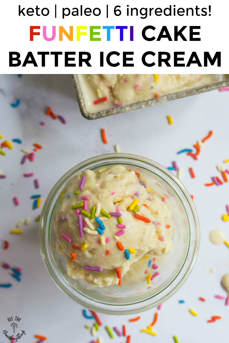scoop of paleo funfetti ice cream with colorful sprinkles and rainbow text overlay