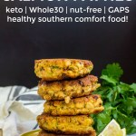 stack of keto salmon patties on a yellow-green plate with wedges of lemon and a text overlay