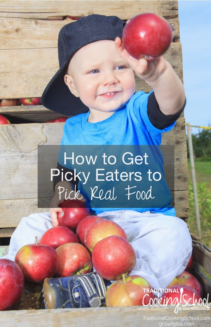 Dealing with picky eaters who won't touch any of the nourishing Real Food you're trying to serve? Here are my 14 tips for getting picky eaters to pick Real Food...hopefully without tantrums, fits, or pouty faces!